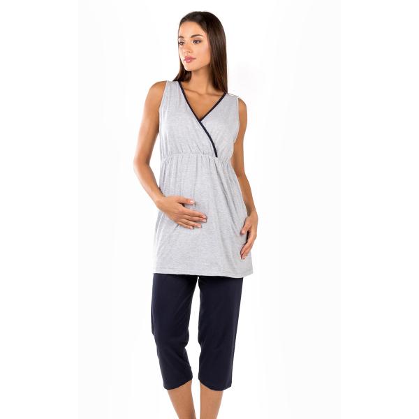 Πιτζάμα Εγκυμοσύνης/Θηλασμού Καλοκαιρινή Minerva Maternity 51859 Γκρι