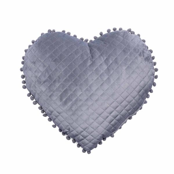 Διακοσμητικό Μαξιλάρι (40x38) Palamaiki Elwin Καρδιά Grey