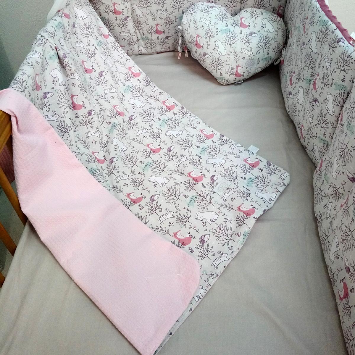 Κουβέρτα Πικέ Αγκαλιάς Ninna Nanna Pink Woodland