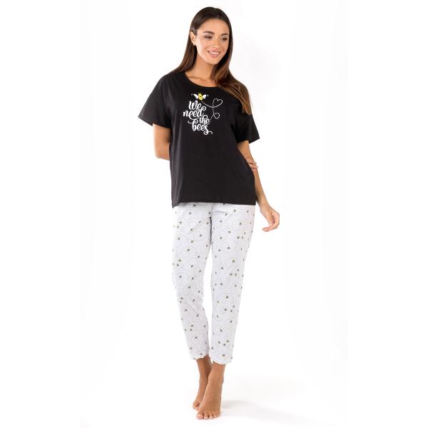 Πιτζάμα Γυναικεία Καλοκαιρινή Minerva Bees & Stripes 51814