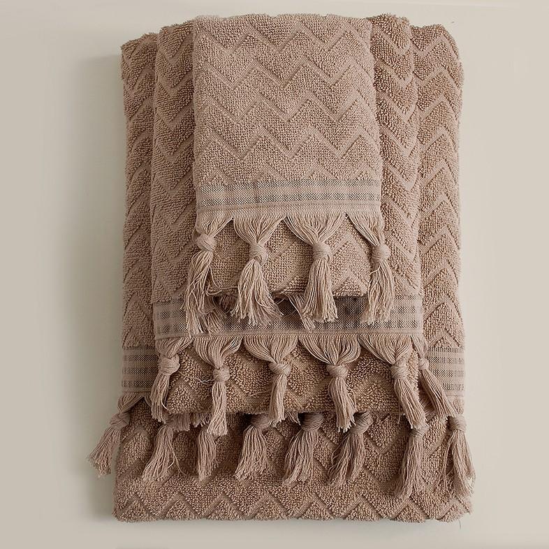 Πετσέτες Μπάνιου (Σετ 3τμχ) Rythmos Canada Beige