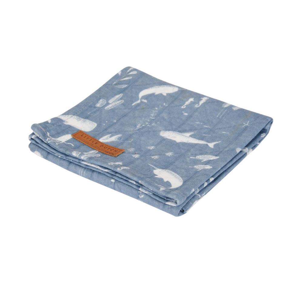 Κουβέρτα Μουσελίνα Κούνιας Little Dutch Ocean Blue LD50420640