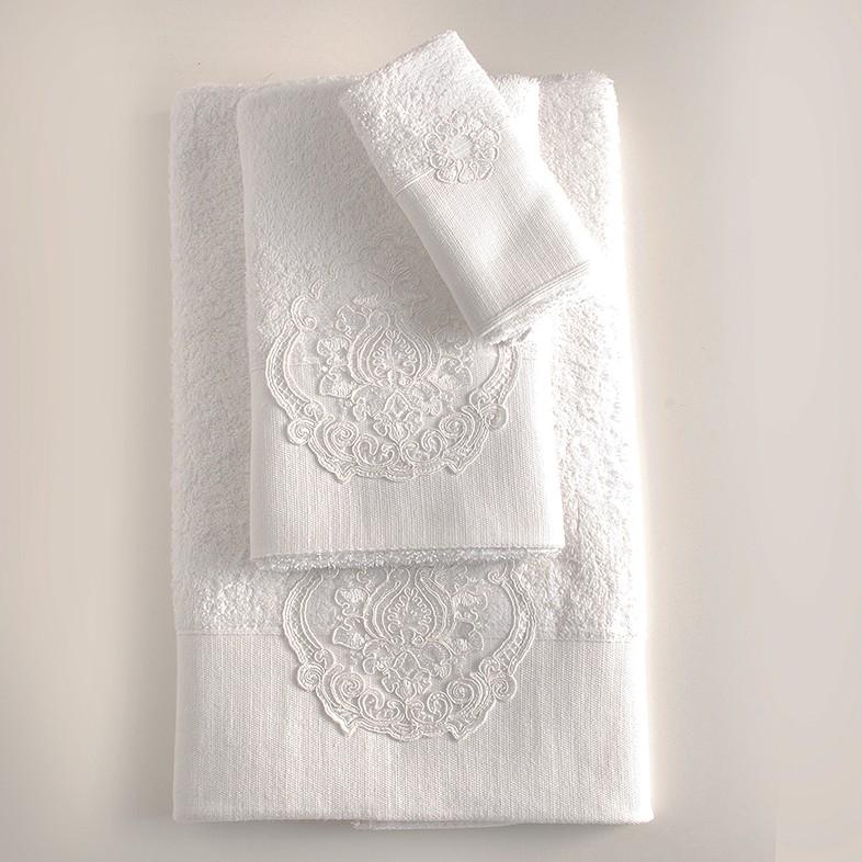 Νυφικές Πετσέτες Μπάνιου (Σετ) Rythmos Seyla White