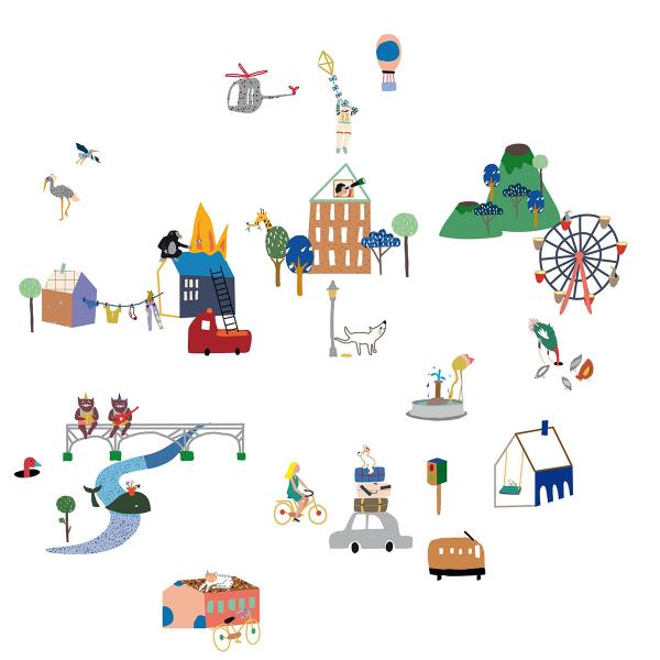 Παιδικά Αυτοκόλλητα Τοίχου Mimi'lou City