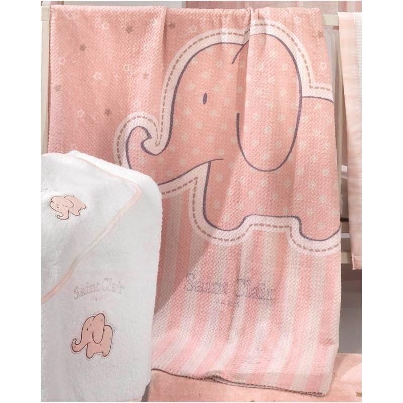 Κουβέρτα Fleece Κούνιας Saint Clair Ultra Soft Africa Pink