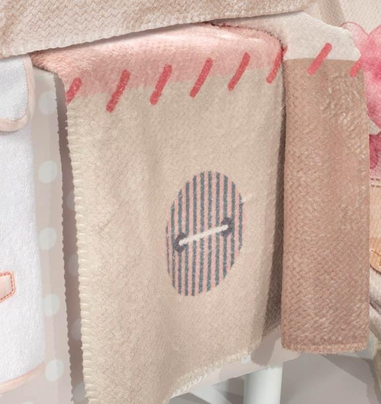 Κουβέρτα Fleece Κούνιας Saint Clair Ultra Soft Patchwork Pink