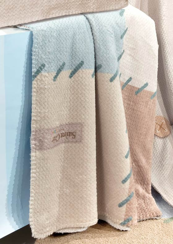 Κουβέρτα Fleece Κούνιας Saint Clair Ultra Soft Patchwork Blue