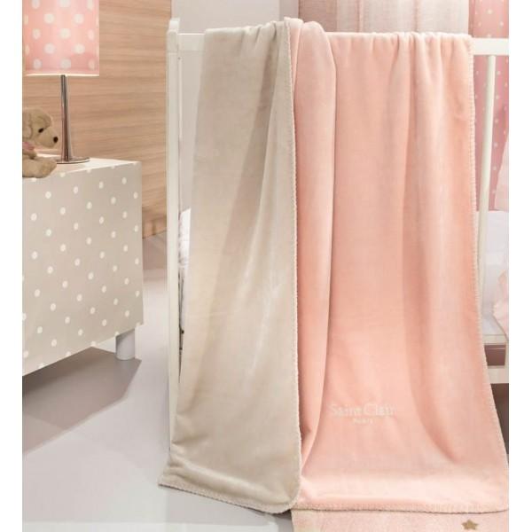 Κουβέρτα Fleece Κούνιας Διπλής Όψης Saint Clair Tresor Pinky