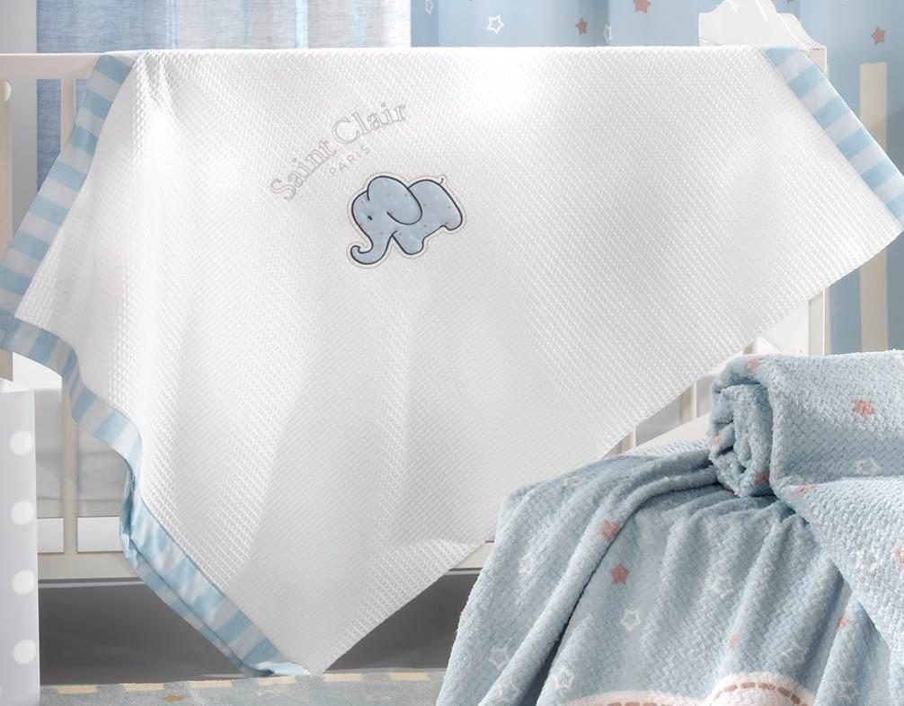 Κουβέρτα Πικέ Κούνιας Saint Clair Africa Blue