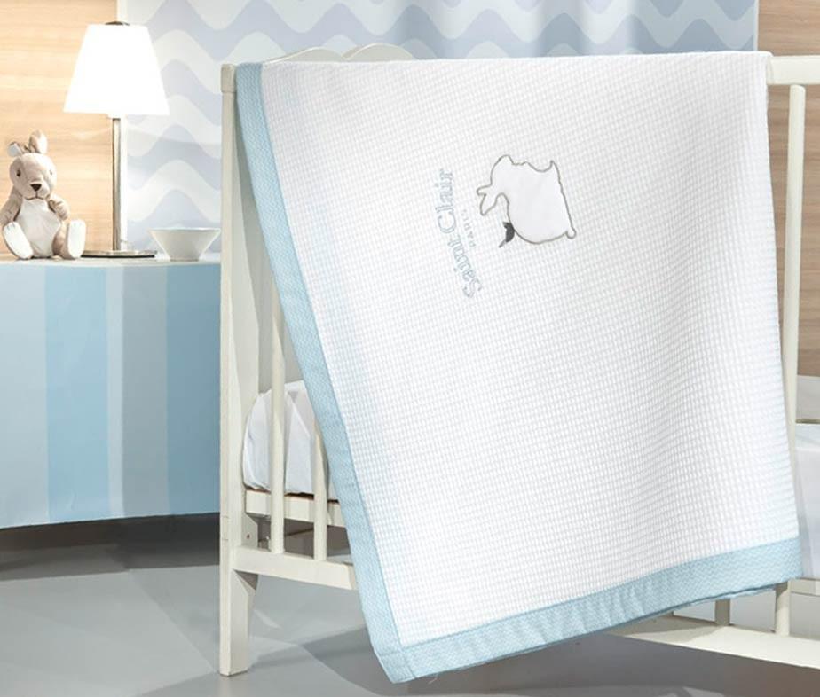 Κουβέρτα Πικέ Κούνιας Saint Clair Lapin Blue home   βρεφικά   κουβέρτες βρεφικές   κουβέρτες καλοκαιρινές
