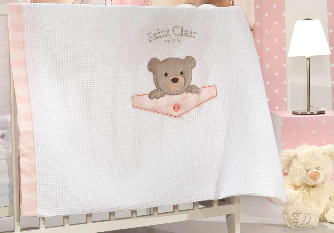 Κουβέρτα Πικέ Κούνιας Saint Clair Teddy Rose