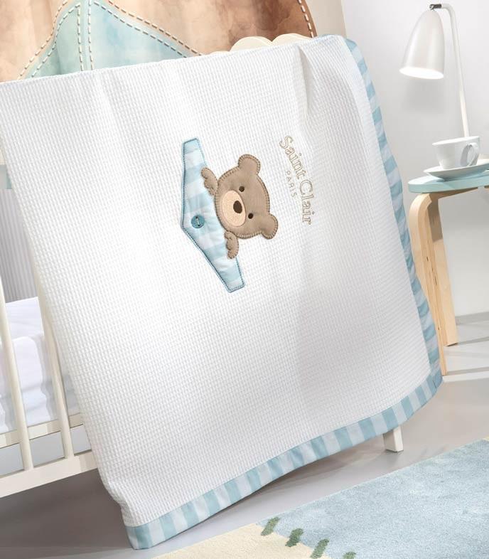 Κουβέρτα Πικέ Κούνιας Saint Clair Teddy Sky home   βρεφικά   κουβέρτες βρεφικές   κουβέρτες καλοκαιρινές