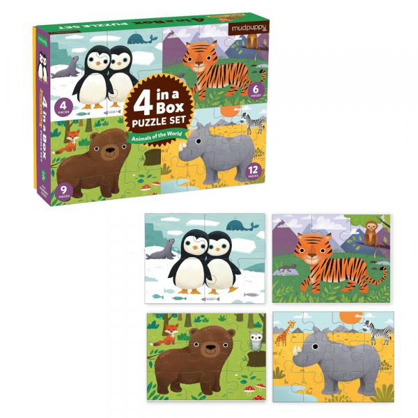 Σετ 4 Παζλ Προόδου Mudpuppy Ζώα Του Κόσμου