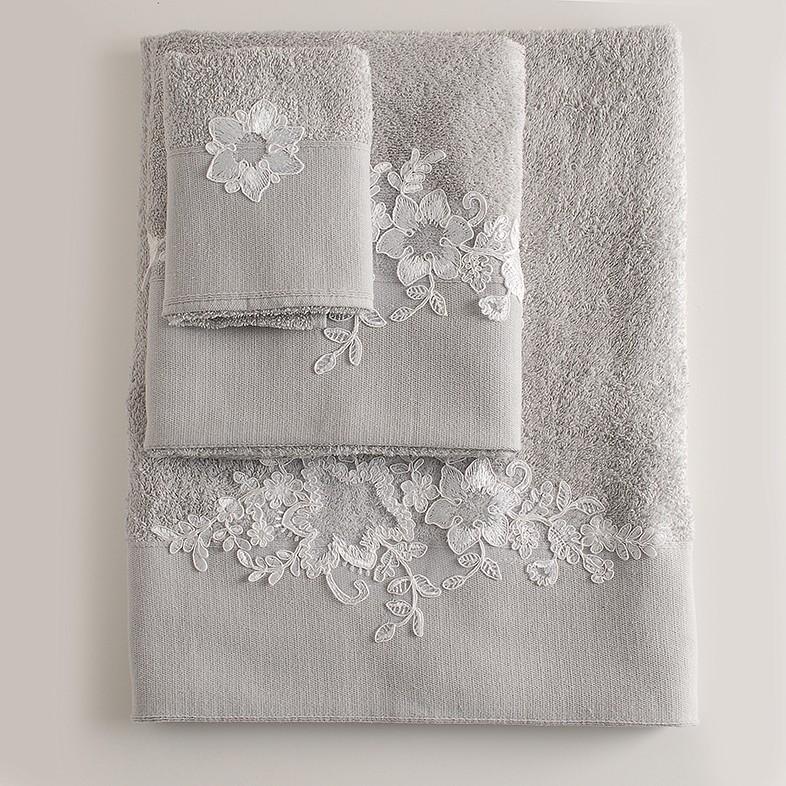 Πετσέτες Μπάνιου (Σετ 3τμχ) Rythmos Frida Grey
