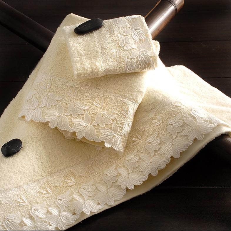 Πετσέτες Μπάνιου (Σετ 3τμχ) Rythmos Anna Ecru