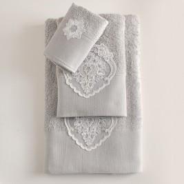 Πετσέτες Μπάνιου (Σετ 3τμχ) Rythmos Seyla Grey