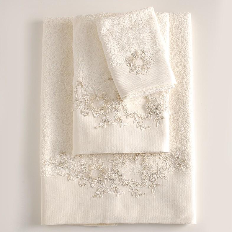 Πετσέτες Μπάνιου (Σετ 3τμχ) Rythmos Frida Ecru