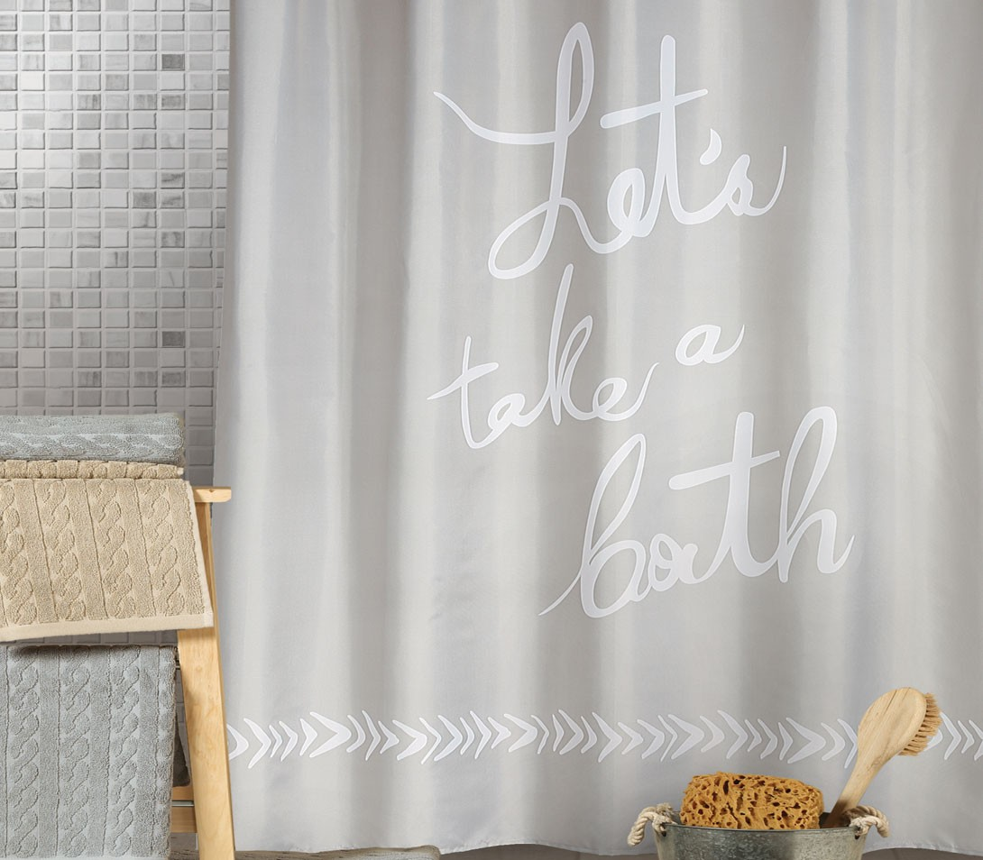 Κουρτίνα Μπάνιου (180x180) Nef-Nef Let's Take A Bath Grey
