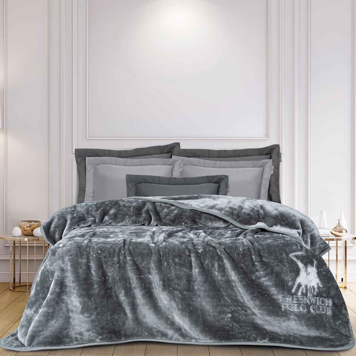 Κουβέρτα Βελουτέ Μονή Greenwich Polo Club 2475 Dark Grey