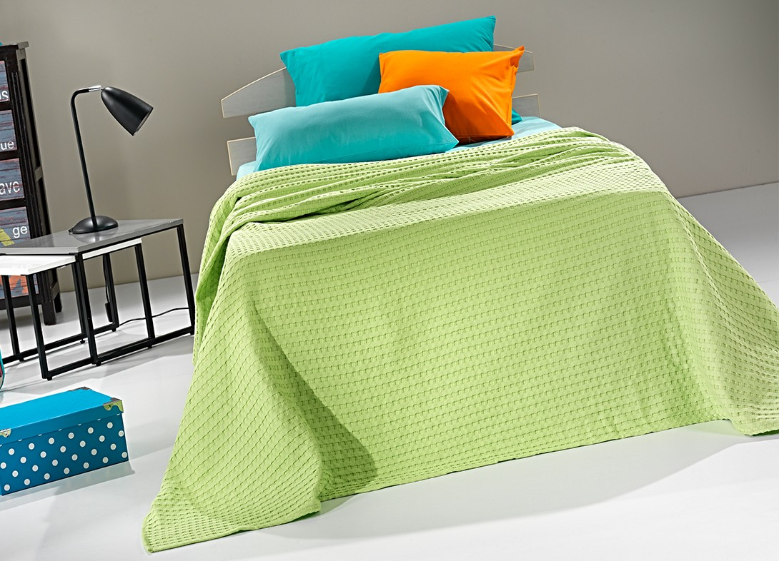 Κουβέρτα Πικέ Μονή Nima Habit Parrot Green