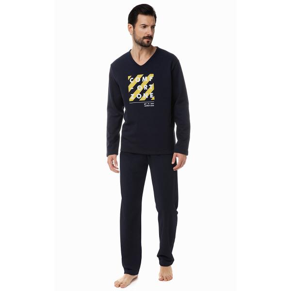 Πιτζάμα Ανδρική Χειμωνιάτικη Minerva Comfort Zone 70873 Μπλε