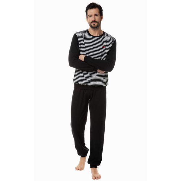 Πιτζάμα Ανδρική Χειμωνιάτικη Minerva Stripes 70872 Μαύρο