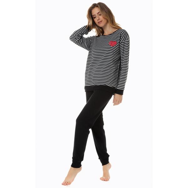 Πιτζάμα Γυναικεία Χειμωνιάτικη Minerva Stripes 51928 Μαύρο