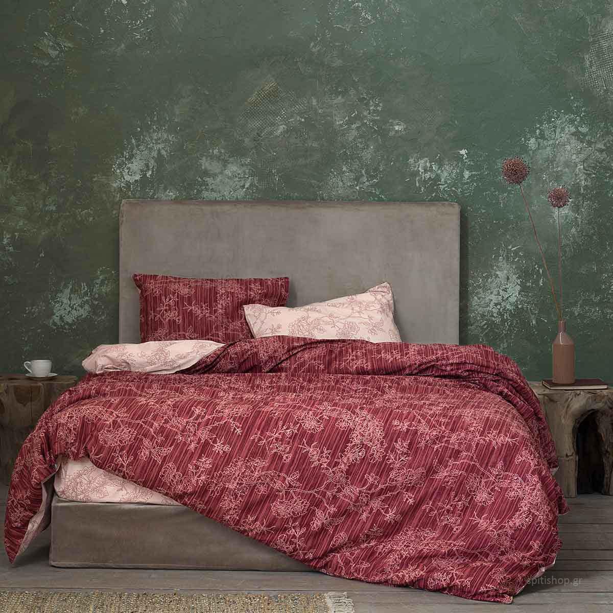 Σεντόνια Υπέρδιπλα (Σετ 240×260) Nima Bed Linen Florence Wine Red ΜΕ ΛΑΣΤΙΧΟ 160×200+32 ΜΕ ΛΑΣΤΙΧΟ 160×200+32
