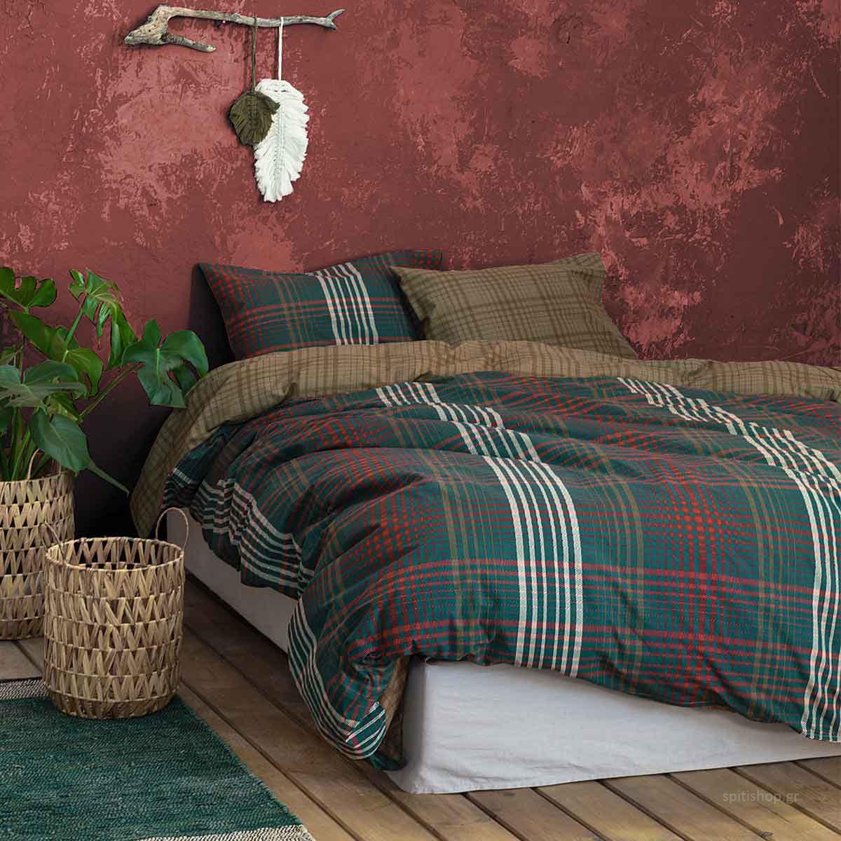 Παπλωματοθήκη Μονή (Σετ) Nima Bed Linen Ardor Wine Red
