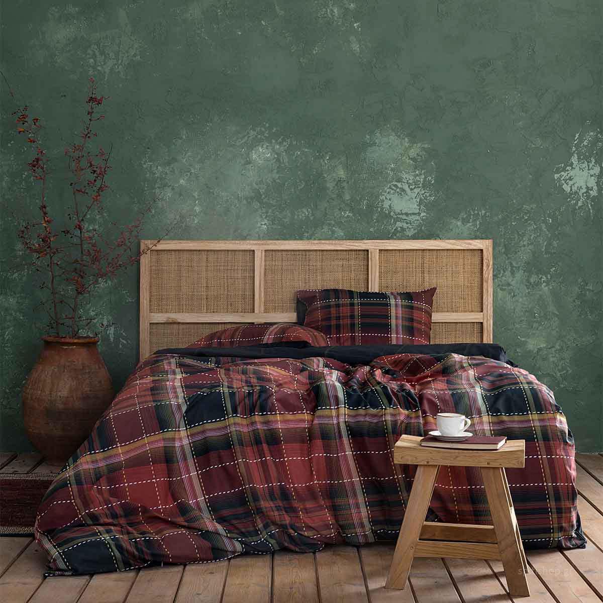 Παπλωματοθήκη Μονή (Σετ) Nima Bed Linen Couture Wine Red