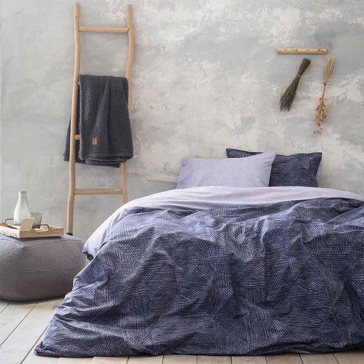 Παπλωματοθήκη Μονή (Σετ) Nima Bed Linen Jayla Grey