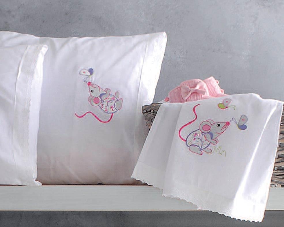 Σεντόνια Κούνιας (Σετ) Rythmos Mouse Pink