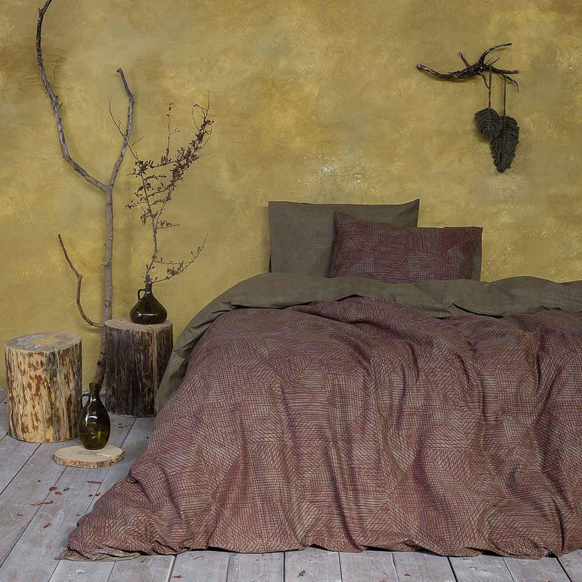 Σεντόνια King Size (Σετ) Nima Bed Linen Jayla Wine Red