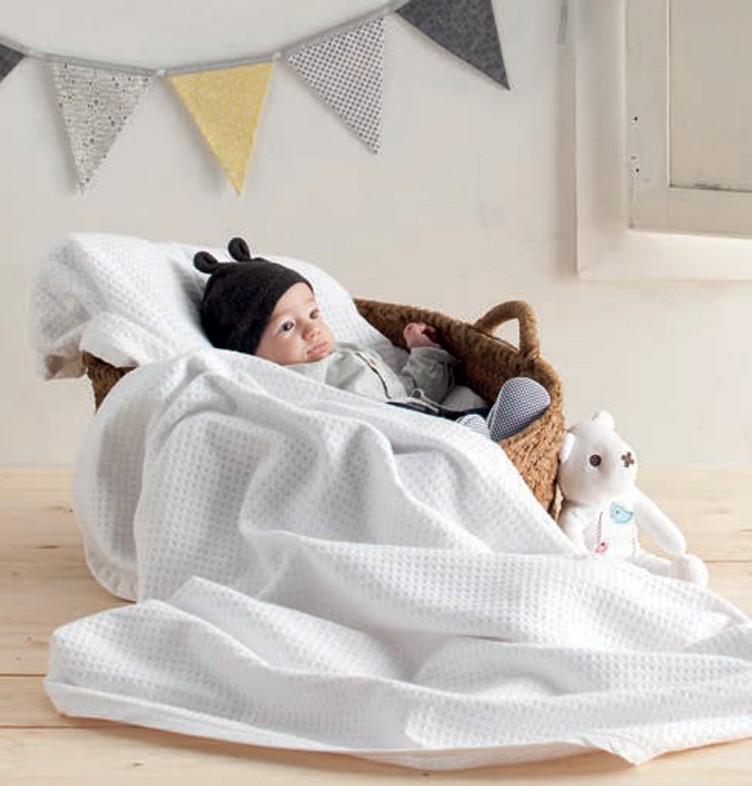 Κουβέρτα Πικέ Κούνιας Manterol Baby Malta 001 C13