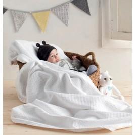 Κουβέρτα Πικέ Αγκαλιάς Manterol Baby Malta 001 C13