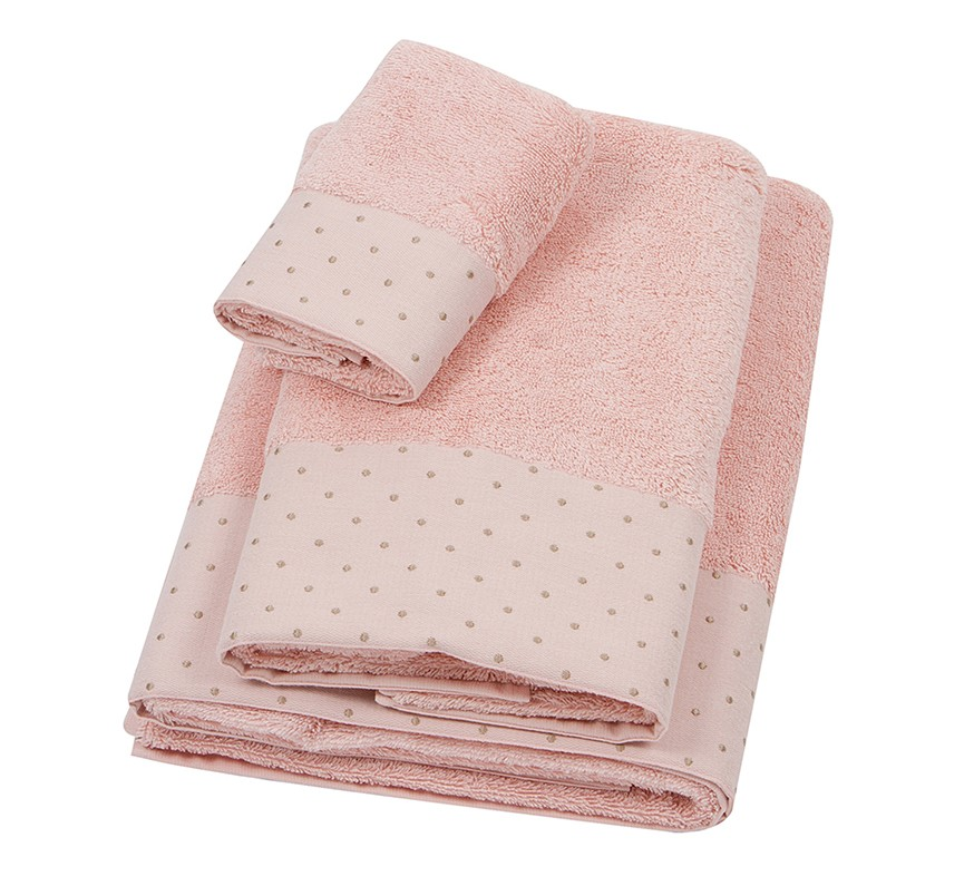 Πετσέτα Προσώπου (50x100) Laura Ashley Polka Border Old Rose