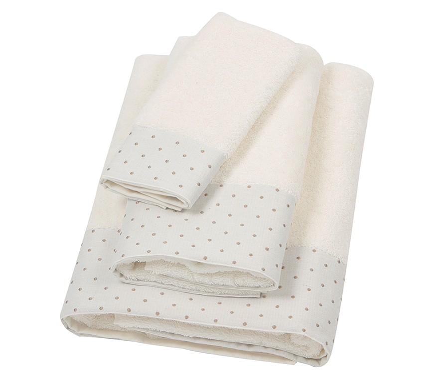 Πετσέτα Σώματος (80x150) Laura Ashley Polka Border Ivory home   μπάνιο   πετσέτες μπάνιου