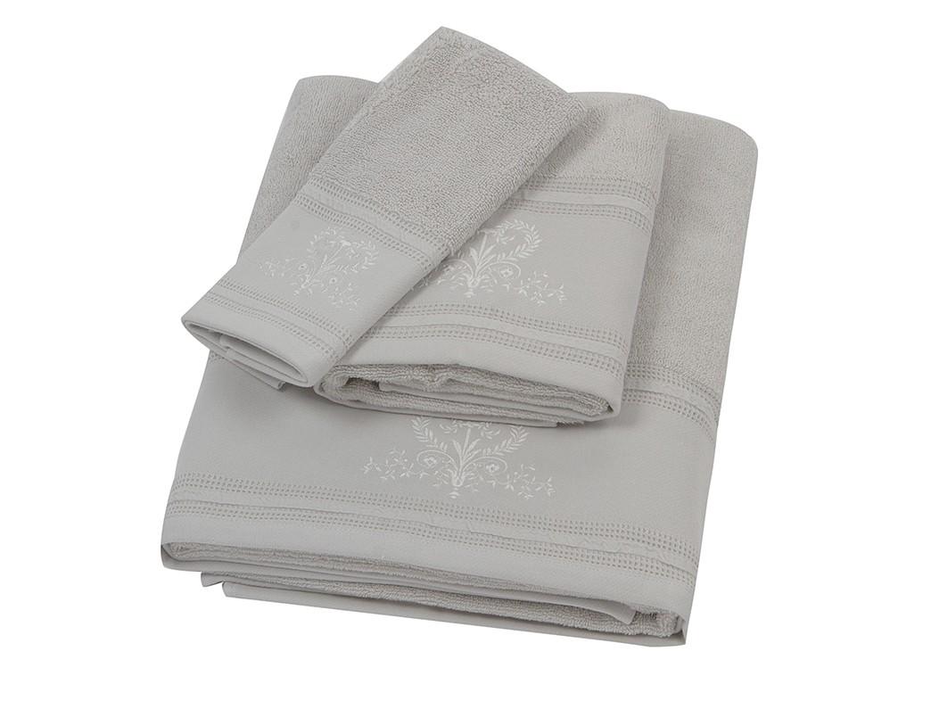 Πετσέτα Προσώπου Κεντητή (50×90) Laura Ashley Josette P.Grey