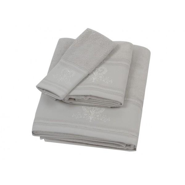 Πετσέτα Σώματος Κεντητή (90x150) Laura Ashley Josette P.Grey