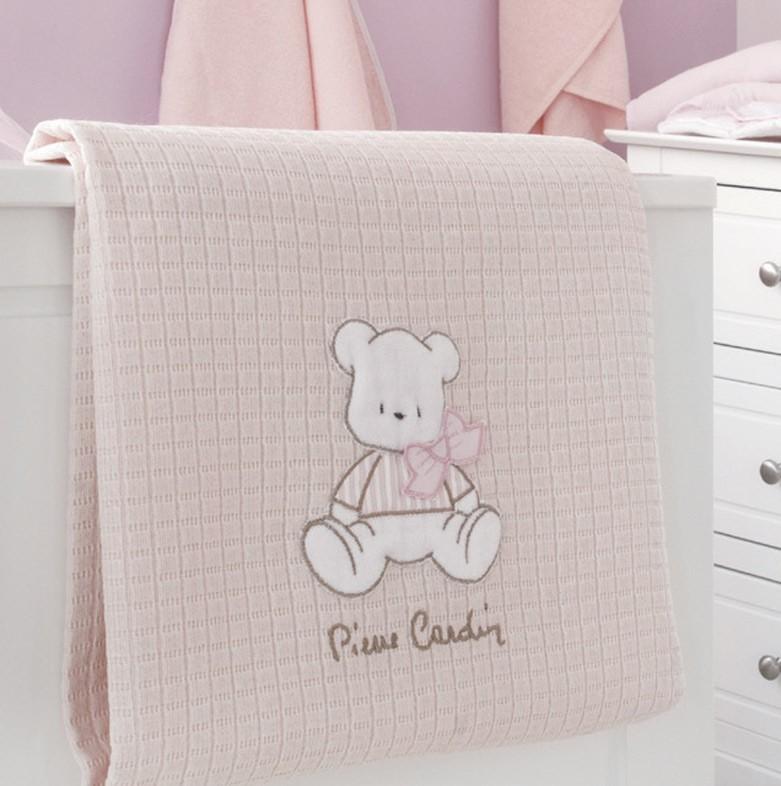 Κουβέρτα Πικέ Κούνιας Pierre Cardin Bear Pink 136