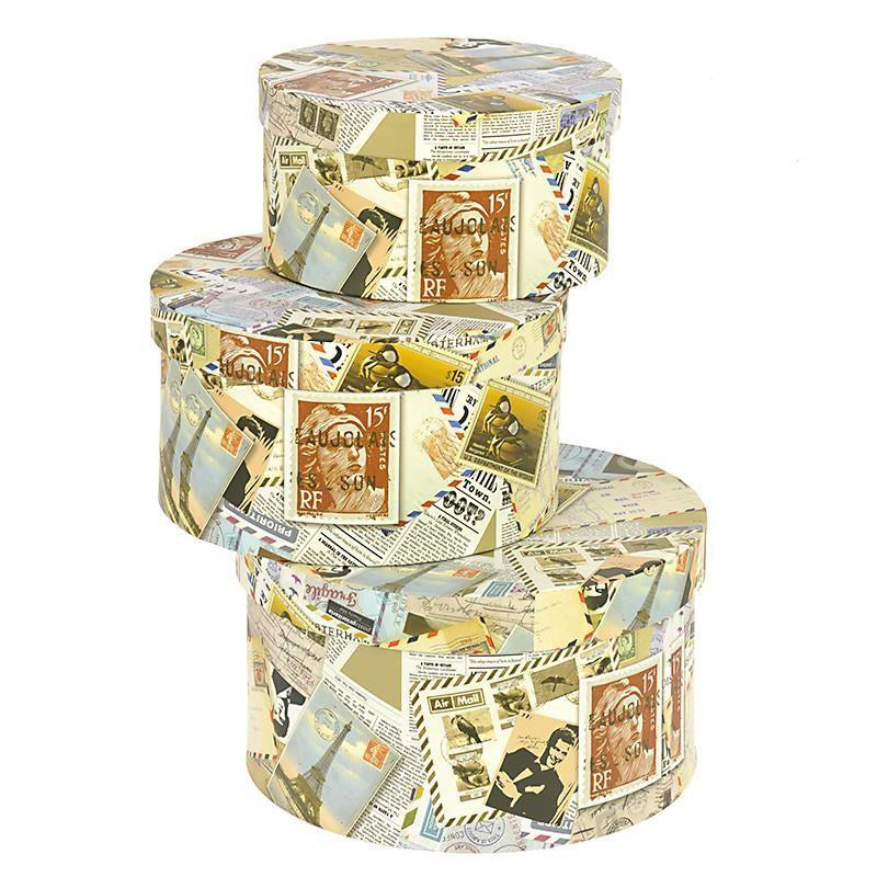 Κουτιά Αποθήκευσης (Σετ 3τμχ) InArt Stamps Round 3-70-776-0045 52265