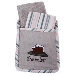 Σετ Κουζίνας 3τμχ Viopros Πόκετ Chocolate