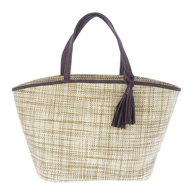 Ψάθινη Τσάντα Παραλίας InArt Brown Tassel 5-42-538-0001