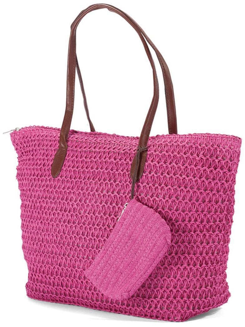 Ψάθινη Τσάντα Παραλίας Benzi 4336 Pink