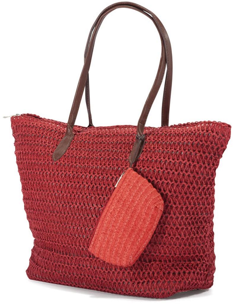 Ψάθινη Τσάντα Παραλίας Benzi 4336 Red