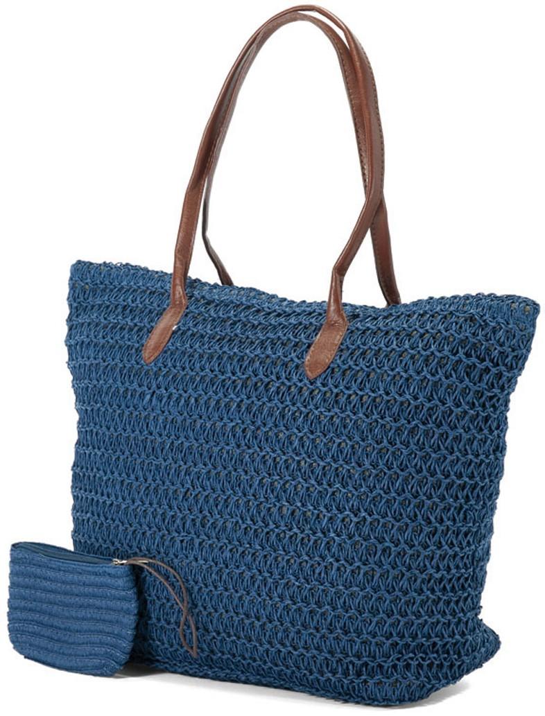 Ψάθινη Τσάντα Παραλίας Benzi 4336 Blue