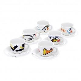 Φλυτζάνια Καφέ + Πιατάκια (Σετ 6τμχ) Home Design WN9917/T