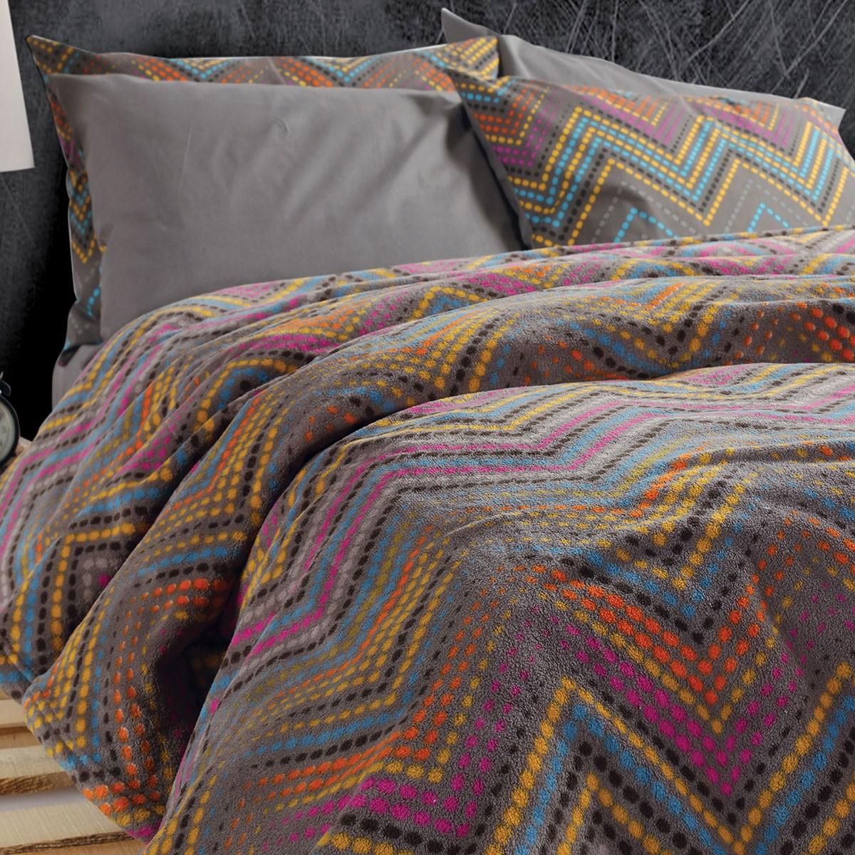 Κουβέρτα Fleece Υπέρδιπλη Nef-Nef Crook Grey