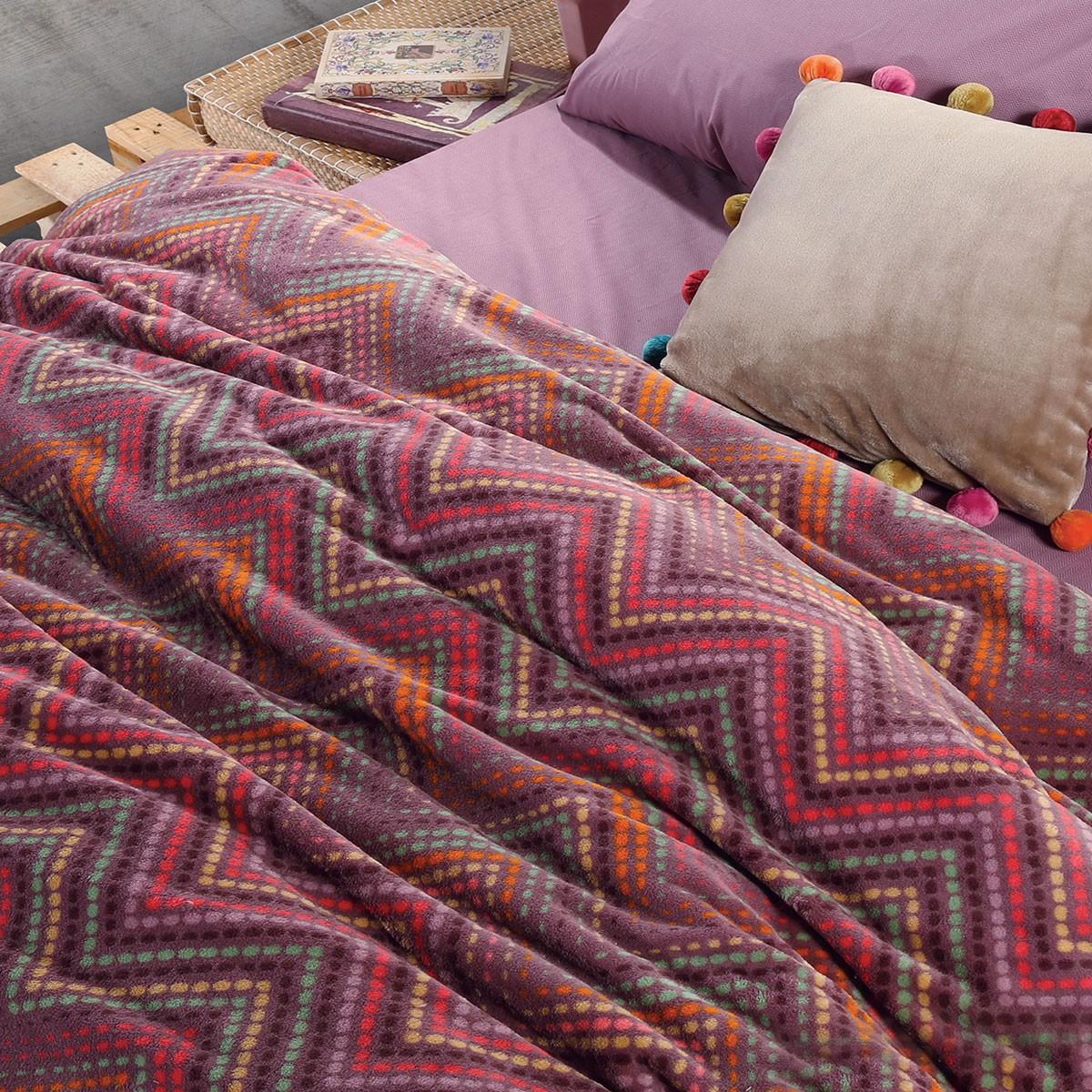 Κουβέρτα Fleece Υπέρδιπλη Nef-Nef Crook Mauve 56428
