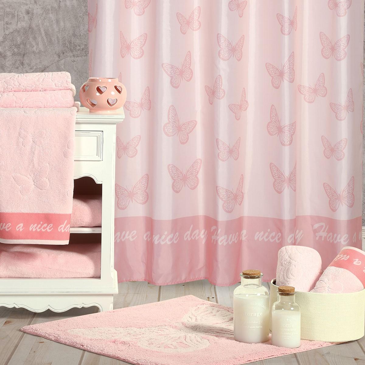 Κουρτίνα Μπάνιου (180x180) Nef-Nef Wings Pink